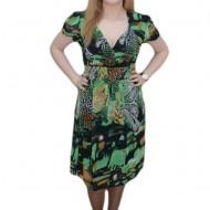 Rochie de vara cu imprimeu verde, cu croi lejer, masura mare