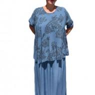 Rochie de vara culoare de bleumarin cu imprimeu gri