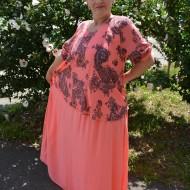 Rochie de vara culoare de corai cu imprimeu bleumarin