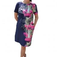 Rochie de zi Agace ,imprimeu cu maci,nuanta de bleumarin