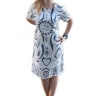 Rochie de zi cu maneca scurta, nuanta alba imprimeu albastru