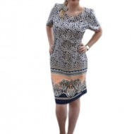Rochie de zi, masura mare, cu imprimeu floral marunt, bleumarin