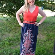 Rochie deosebita de culoare bleumarin-corai, cu curea aplicata