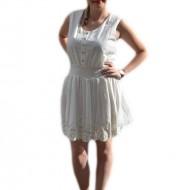 Rochie din bumbac de culoare alba cu broderie, model mini