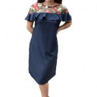 Rochie eleganta Alizee ,brodata cu flori,nuanta de bleumarin