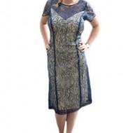 Rochie eleganta, de culoare bleumarin, din material cu paiete