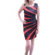 Rochie eleganta, de culoare neagra cu dungi rosii, de lungime medie