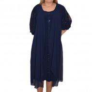 Rochie eleganta de dama, de culoare bleumarin, cu voal lejer