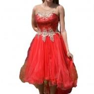 Rochie eleganta din tul subtire, rosie, cu paiete si broderie