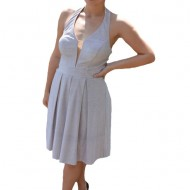 Rochie eleganta Ermine, textura cu fir de lurex ,nuanta de pudra