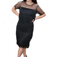 Rochie eleganta Fenna cu franjuri ,nuanta de negru