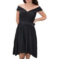 Rochie eleganta Fiene cu decolteu in V,nuanta de negru