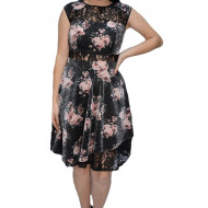 Rochie eleganta Lotte cu dantela si imprimeu floral,nuanta de negru
