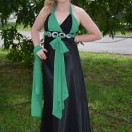 Rochie eleganta lunga, culoare negru-verde,