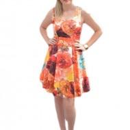 Rochie eleganta, multicolora, cu imprimeu floral foarte realist