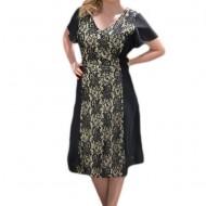 Rochie eleganta, neagra, din voal cu dantela si paiete mici
