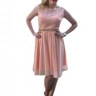 Rochie eleganta scurta, de culoare piersica, din dantela si voal