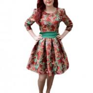 Rochie fashion, de culoare marsala, imprimeu modern cu pasari