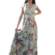 Rochie fashion de ocazie, model lung in nuanta aurie cu flori