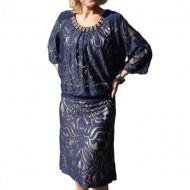 Rochie fashion de ocazie, nuanta bleumarin cu dantela eleganta
