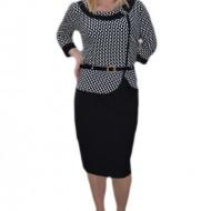 Rochie fashion tip costum, culoare negru-alb cu insertii de strasuri