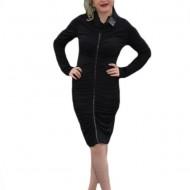 Rochie feminina, de culoare neagra, cu aplicatii de piele