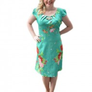 Rochie feminina de culoare verde, model imprimat in tesatura