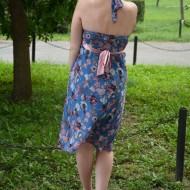 Rochie feminina, din voal albastru cu imprimeu si spatele gol