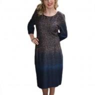 Rochie lejera cu croiala simpla, nuanta bleumarin cu design colorat