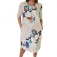 Rochie lejera de zi cu design de flori mari, prevazuta cu buzunare