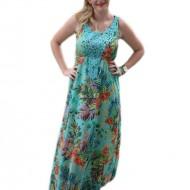 Rochie lunga de vara, turcoaz cu design multicolor si dantela