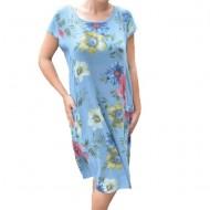Rochie Merle, din bumbac, imprimeu cu flori, nuanta albastru