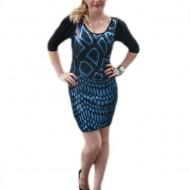 Rochie neagra cu inserti de paiete negru-albastru