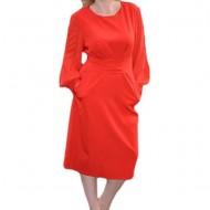 Rochie rafinata, de culoare rosu, maneca lunga, centura in talie