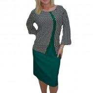 Rochie rafinata tip costum, cu imprimeu bicolor si fusta verde