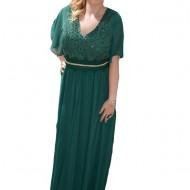 Rochie speciala de ocazie, nuanta verde, lunga cu maneca scurta