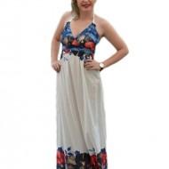 Rochie subtire de culoare alba, cu bretele care se leaga dupa gat