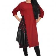 Rochie tinereasca cu buline si insertii de piele,nuanta de rosu