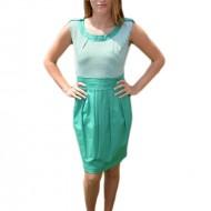 Rochie tinereasca cu imprimeu de dungi alb-verde deschis