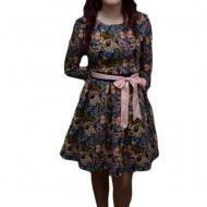 Rochie tinereasca, multicolora, imprimeu modern cu fluturi