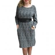 Rochie trendy de toamna-iarna, culoare neagra, cu buzunare mari