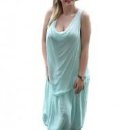 Rochie trendy lunga de vara, masura mare, culoare verde deschis