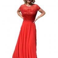 Rochie vaporoasa de ocazie, culoare rosie, din voal cu paiete
