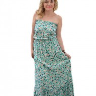 Rochie vaporoasa fara bretele, design de flori mici pe fond turcoaz
