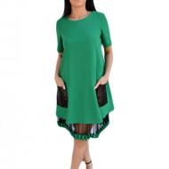 Rochie verde de primavara-vara, cu maneca scurta si croi evazat