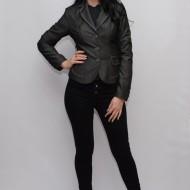 Sacou de culoare gri, cu cusaturi colorate de design, model casual
