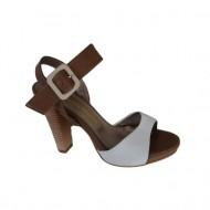 Sandale elegante,din piele naturala, cu toc inalt, bicolore