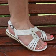 Sandale  fara toc ,din piele naturala de culoare alba