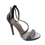 Sandale fashion Andalouse,toc cui,cu sclipici,nuanta de argintiu