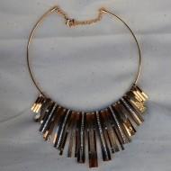 Set de bijuterii din cristale albe cu colier si cercei alungite